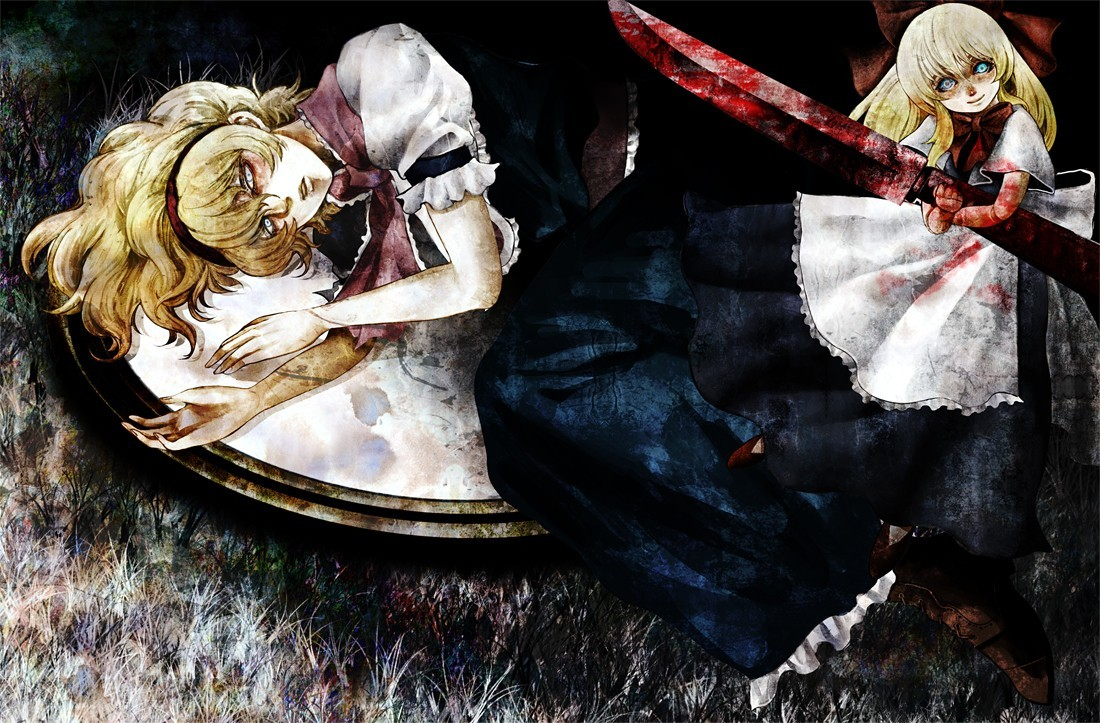 blondes creepy touhou blue HD Wallpaper