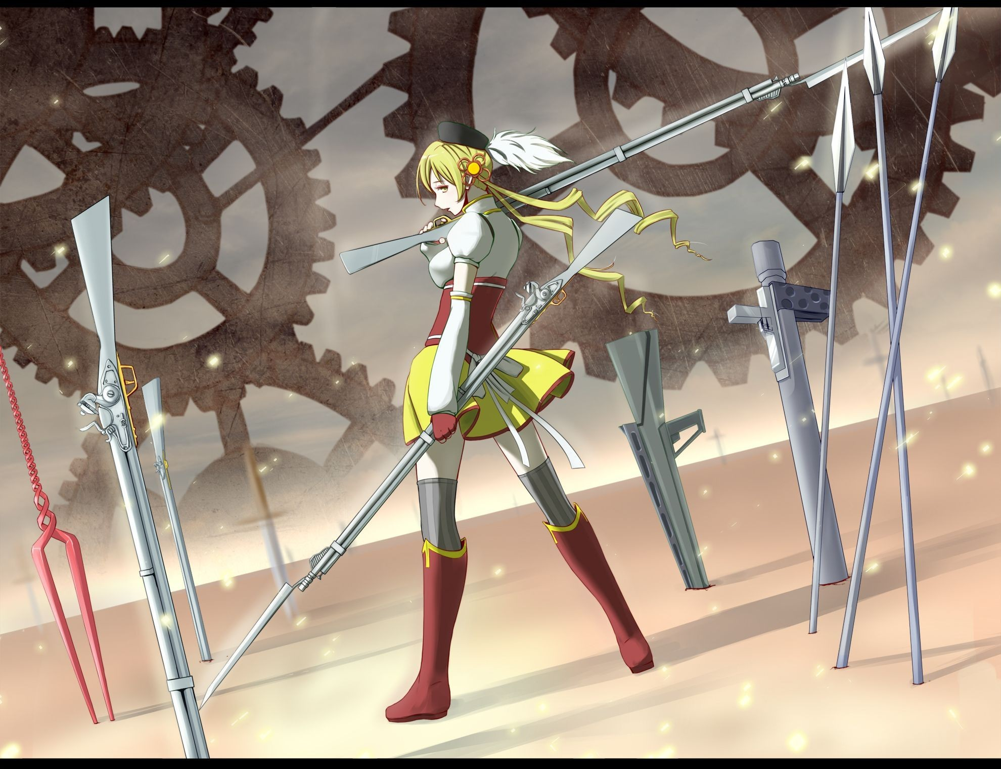 blondes Guns weapons mahou HD Wallpaper