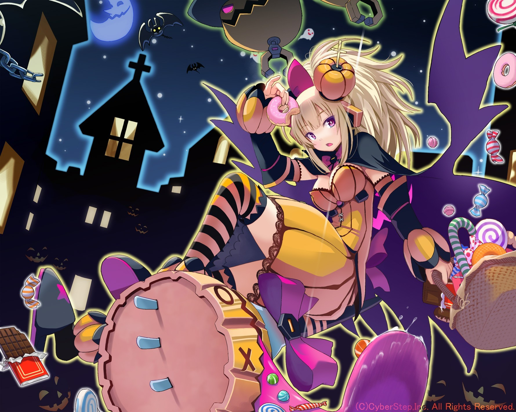 blondes Halloween moon Ribbons HD Wallpaper