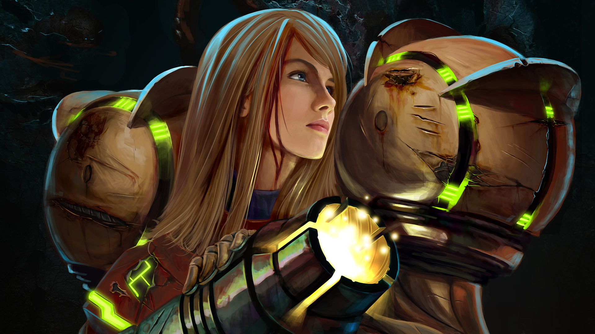 blondes metroid woman futuristic HD Wallpaper