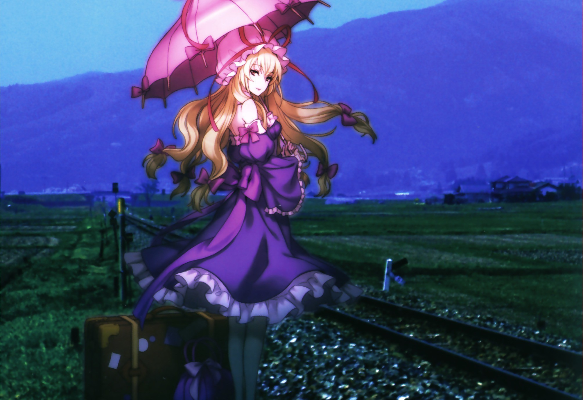 blondes Mountains Landscapes touhou HD Wallpaper