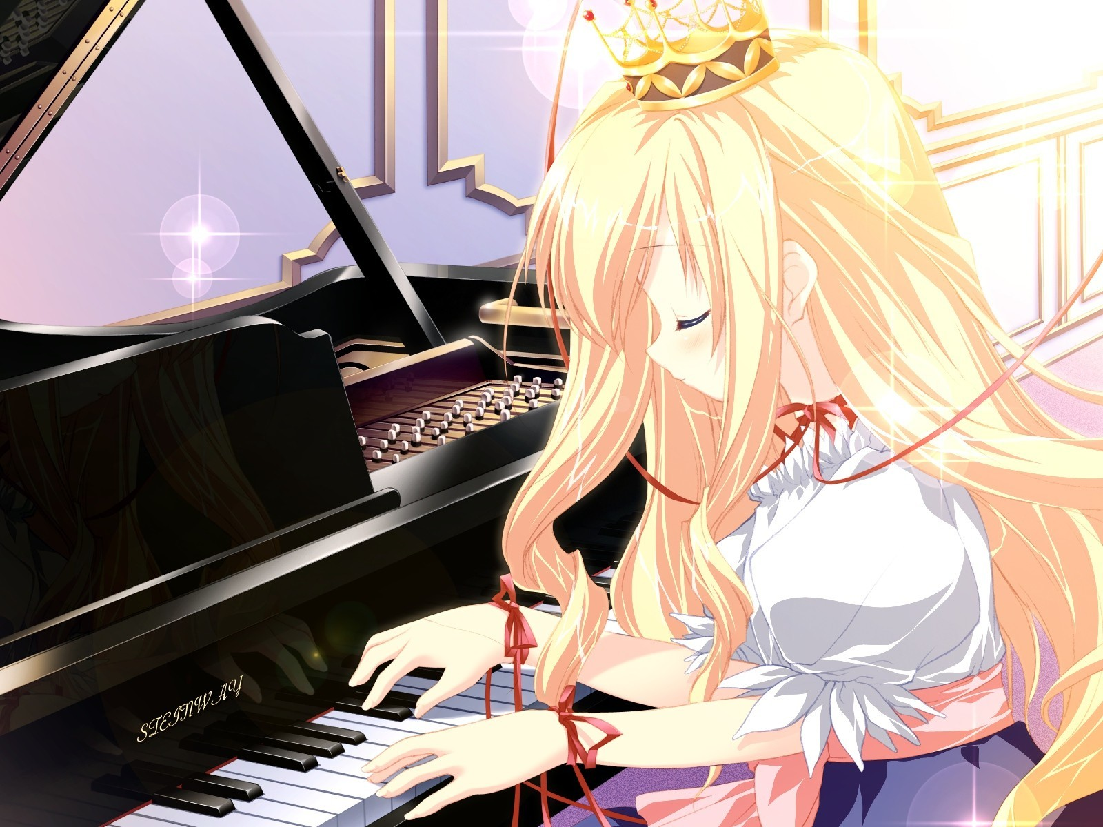 blondes piano Princess crowns HD Wallpaper