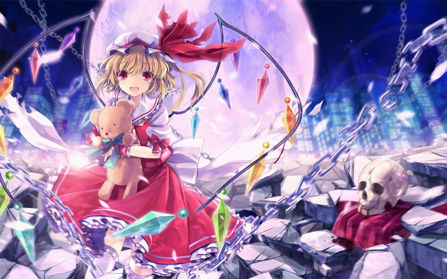 blondes skulls touhou wings HD Wallpaper
