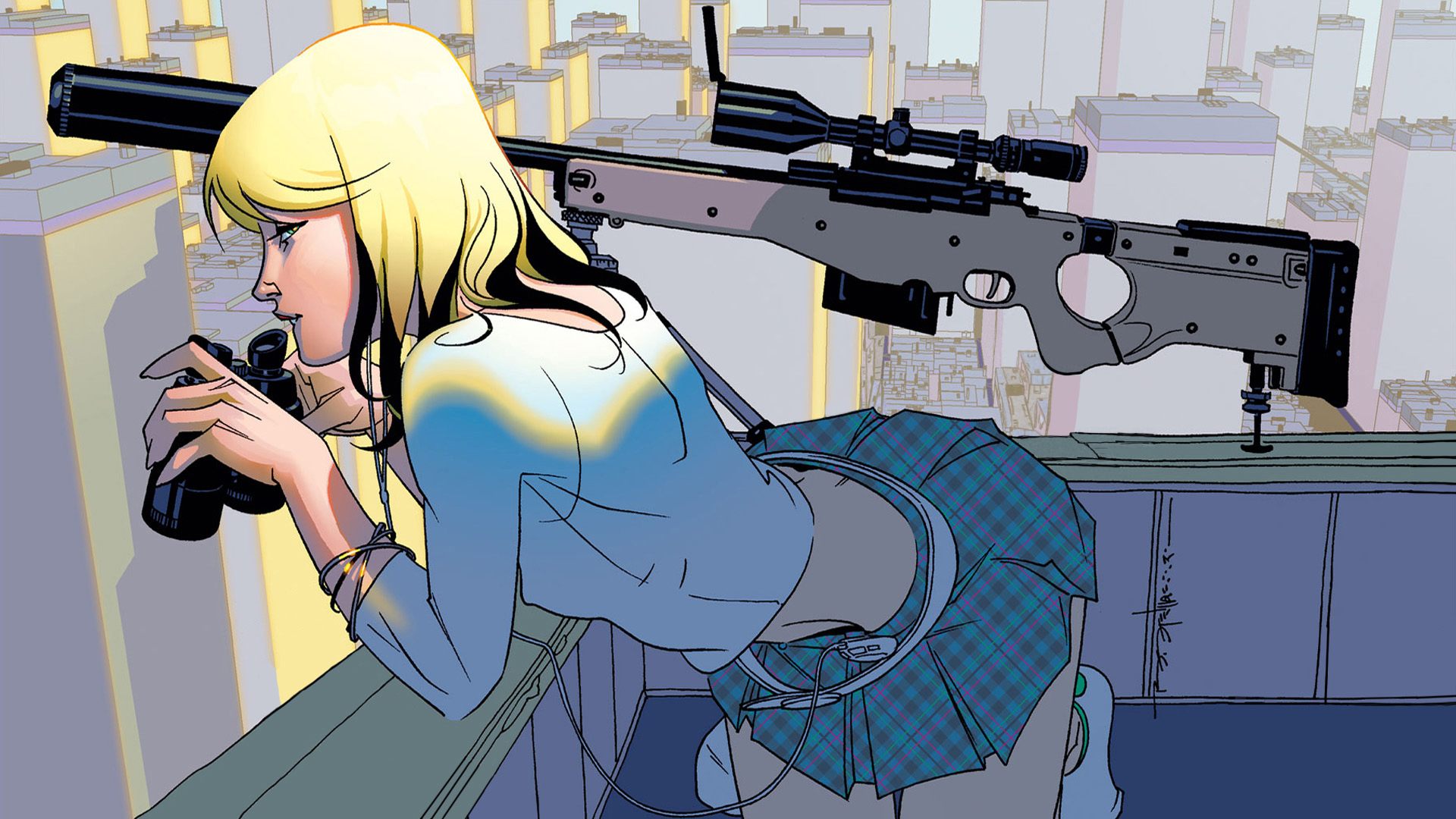 blondes sniper rifles rooftops HD Wallpaper