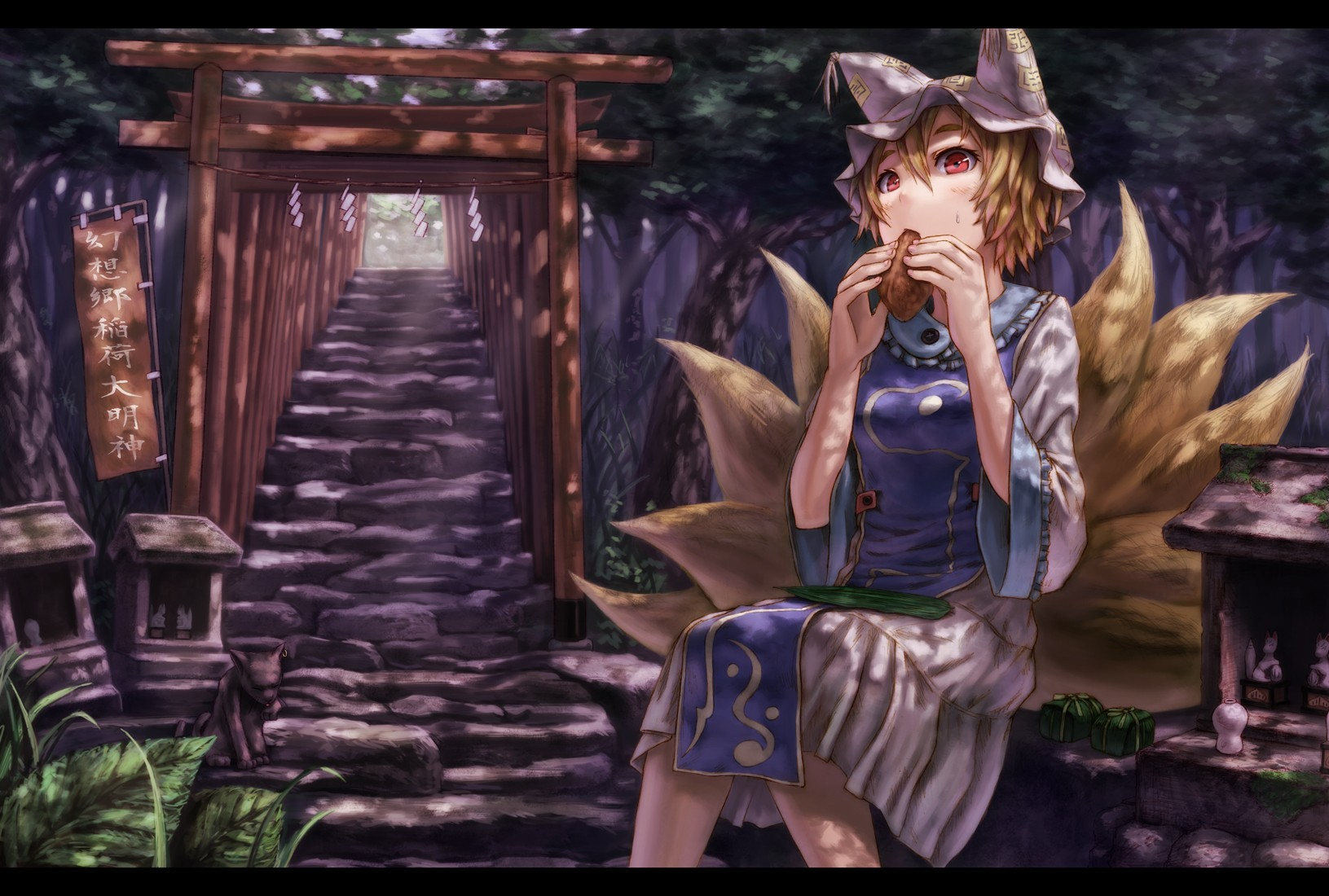 blondes tails touhou food HD Wallpaper
