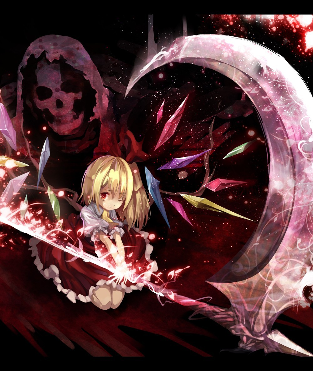 blondes touhou scythe red HD Wallpaper