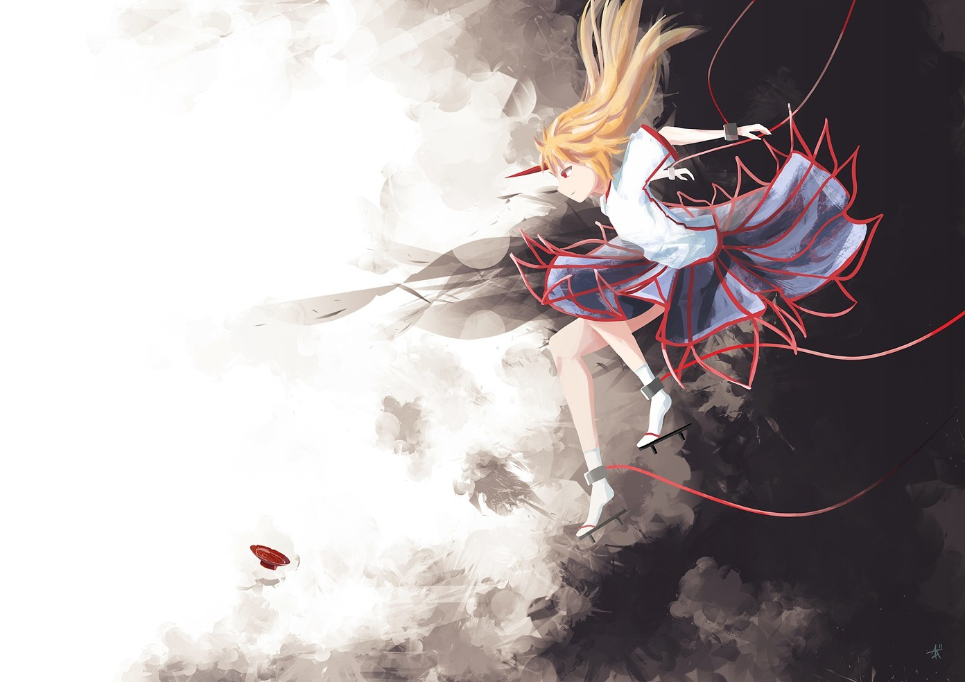blondes touhou skirts horns HD Wallpaper
