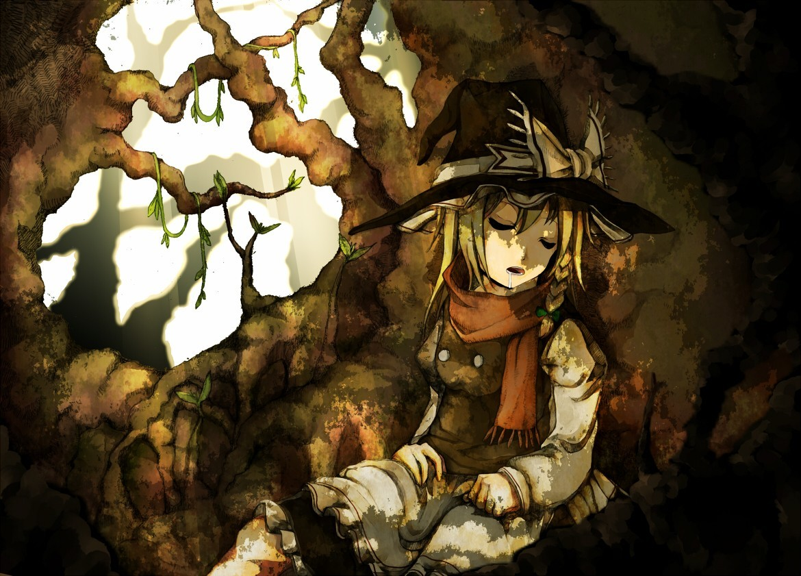 blondes touhou Trees dark HD Wallpaper
