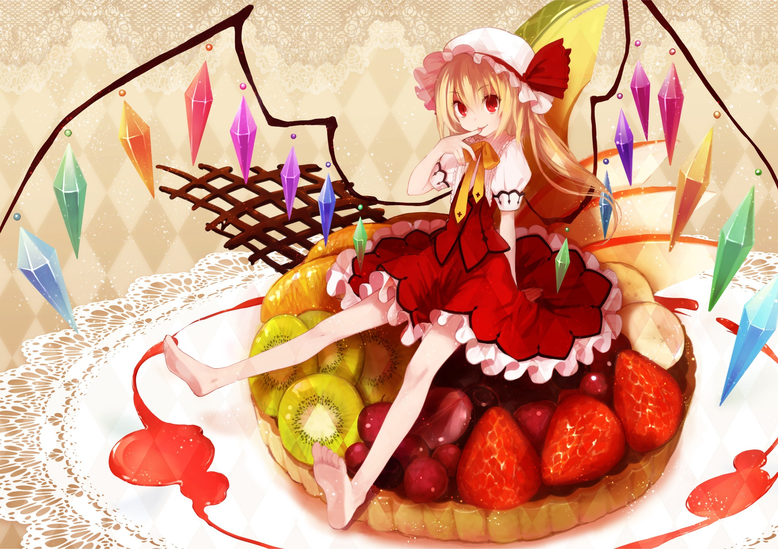blondes touhou wings fruits HD Wallpaper