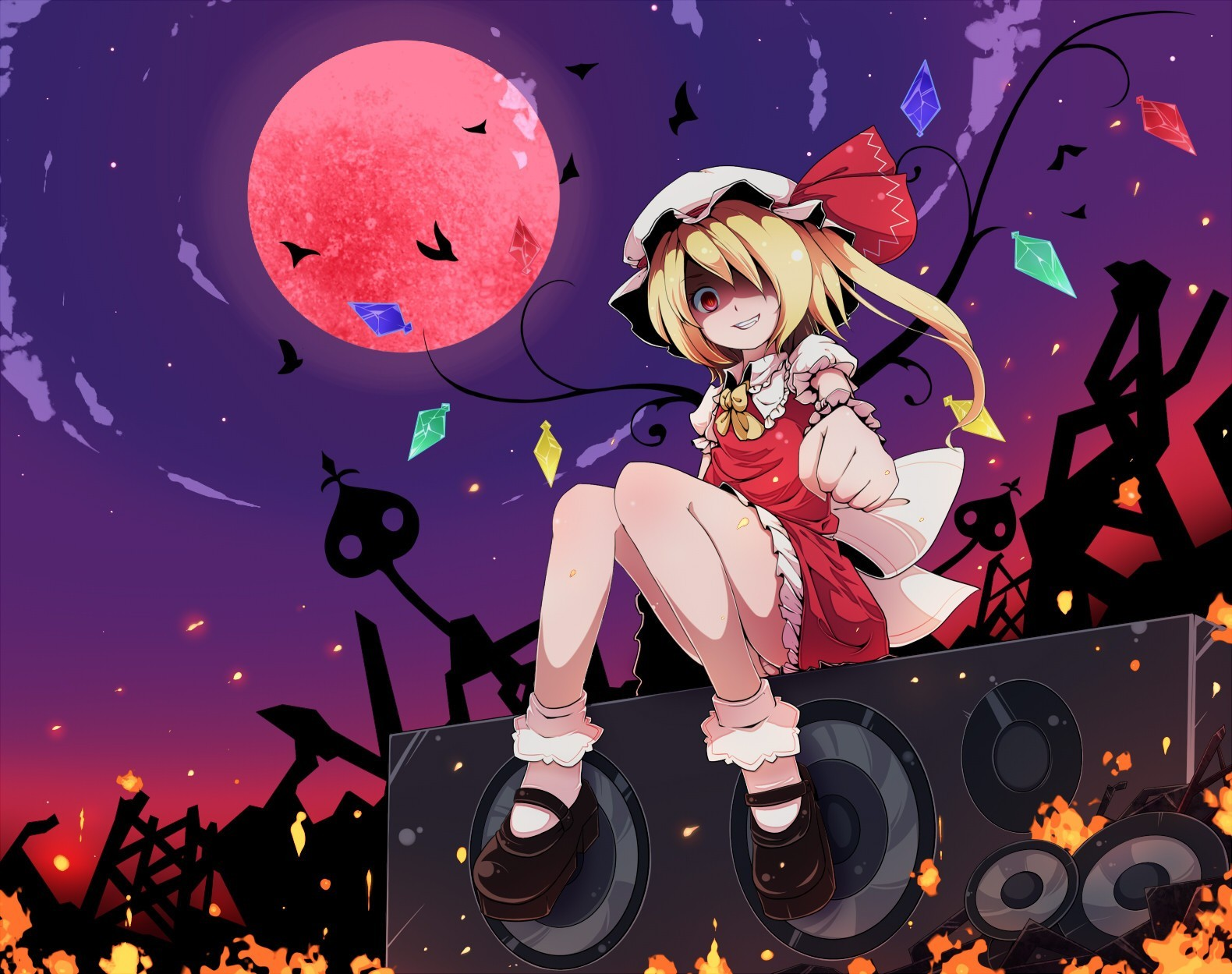 blondes touhou wings moon HD Wallpaper