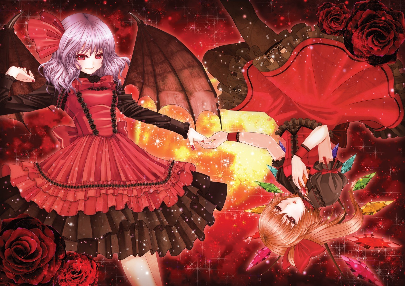 blondes touhou wings red HD Wallpaper