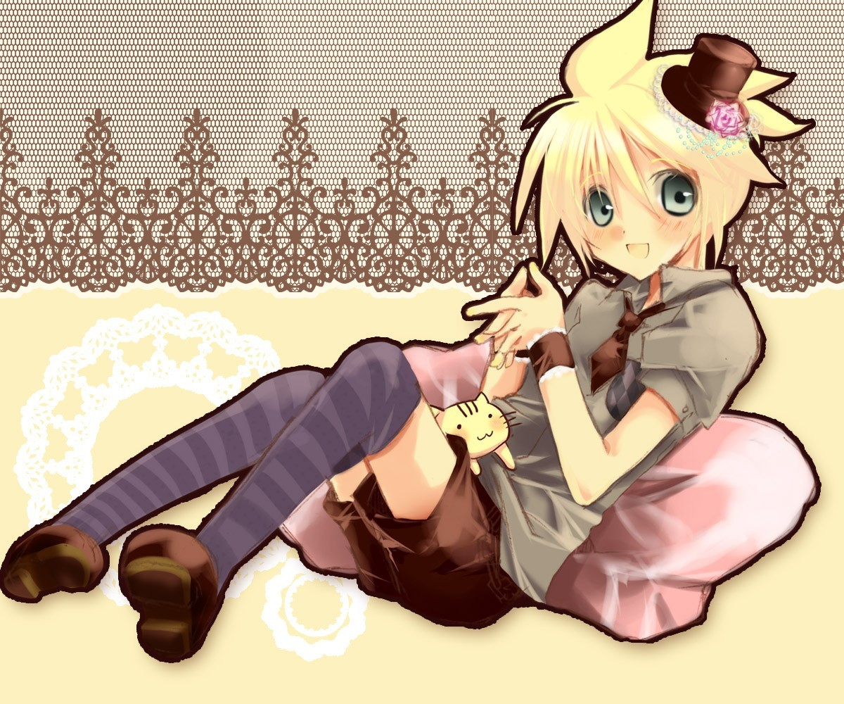 blondes vocaloid kagamine len thigh highs HD Wallpaper