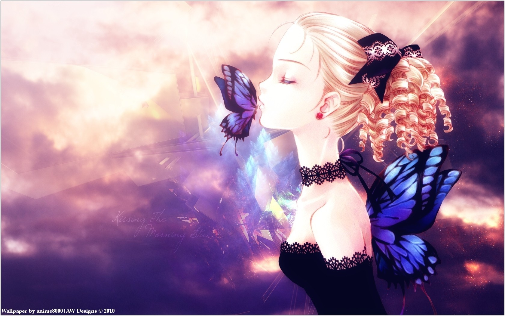 blondes wings dress kissing HD Wallpaper