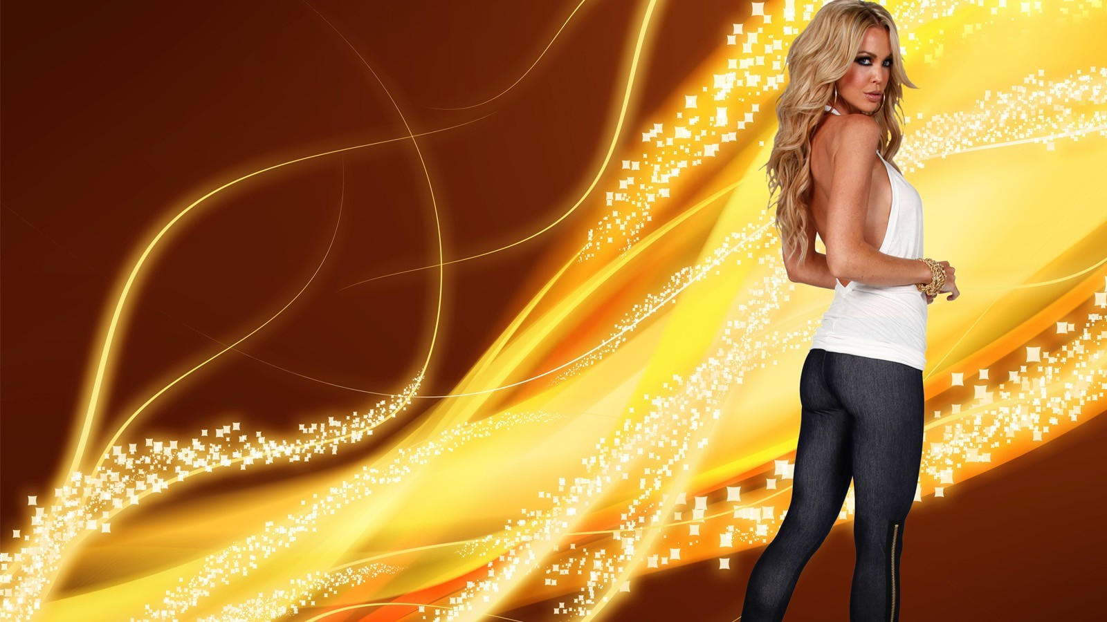 blondes woman abstract jeans HD Wallpaper