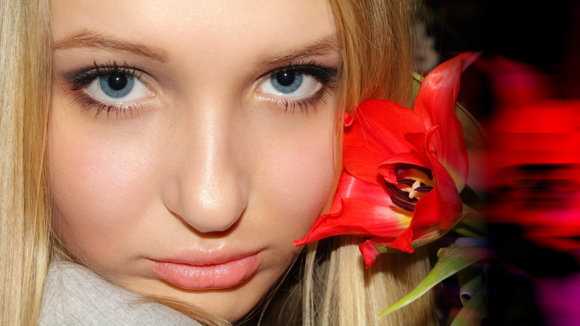 blondes woman close-up Flowers HD Wallpaper
