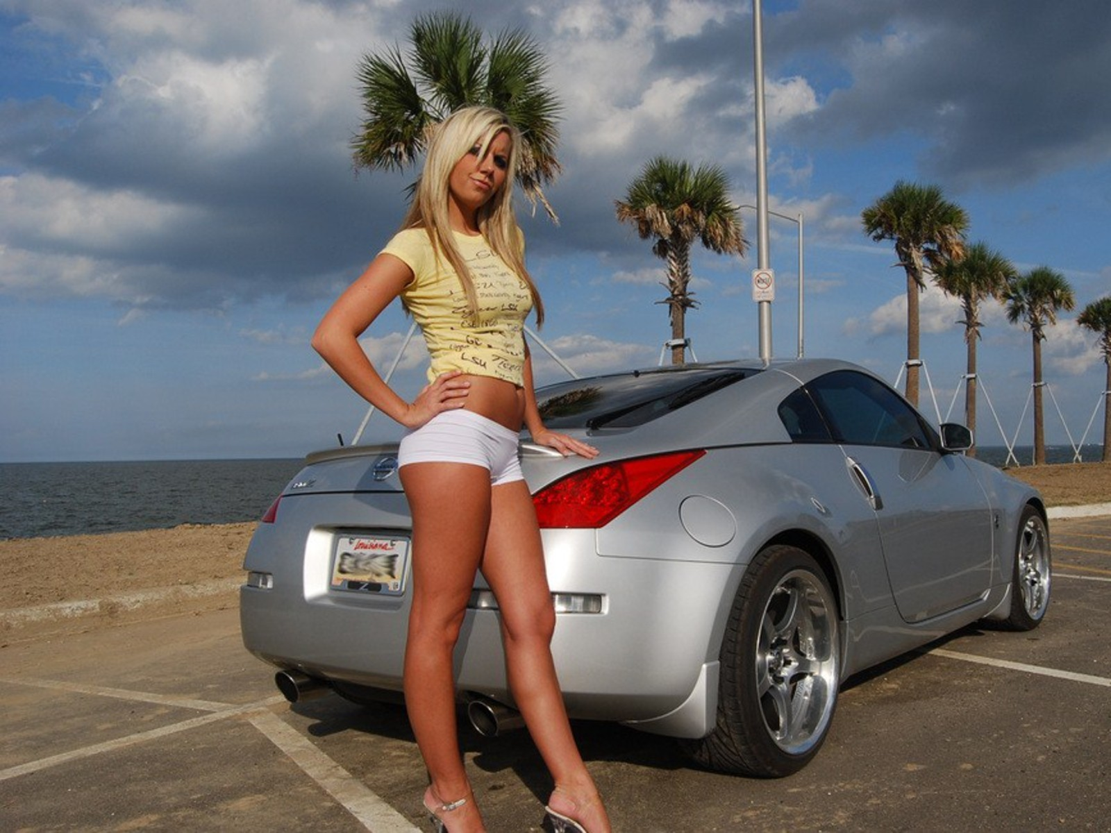 blondes woman clouds cars HD Wallpaper