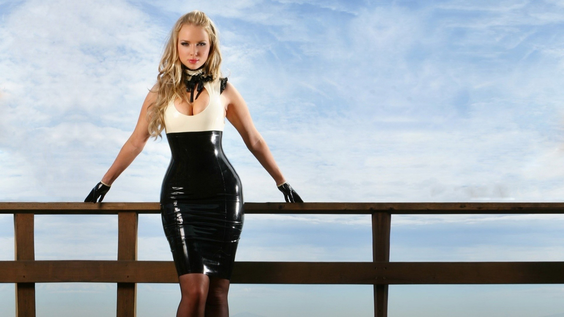 blondes woman gloves cleavage HD Wallpaper