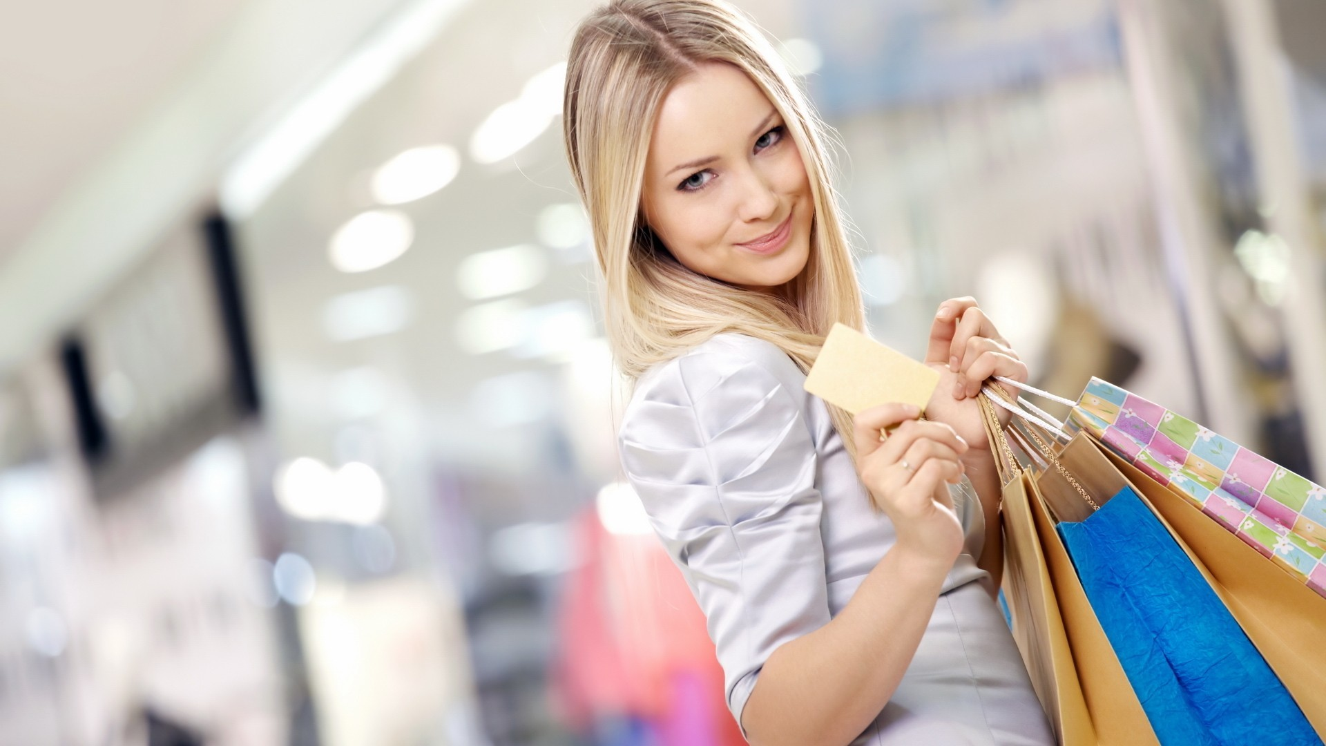blondes woman models shopping HD Wallpaper