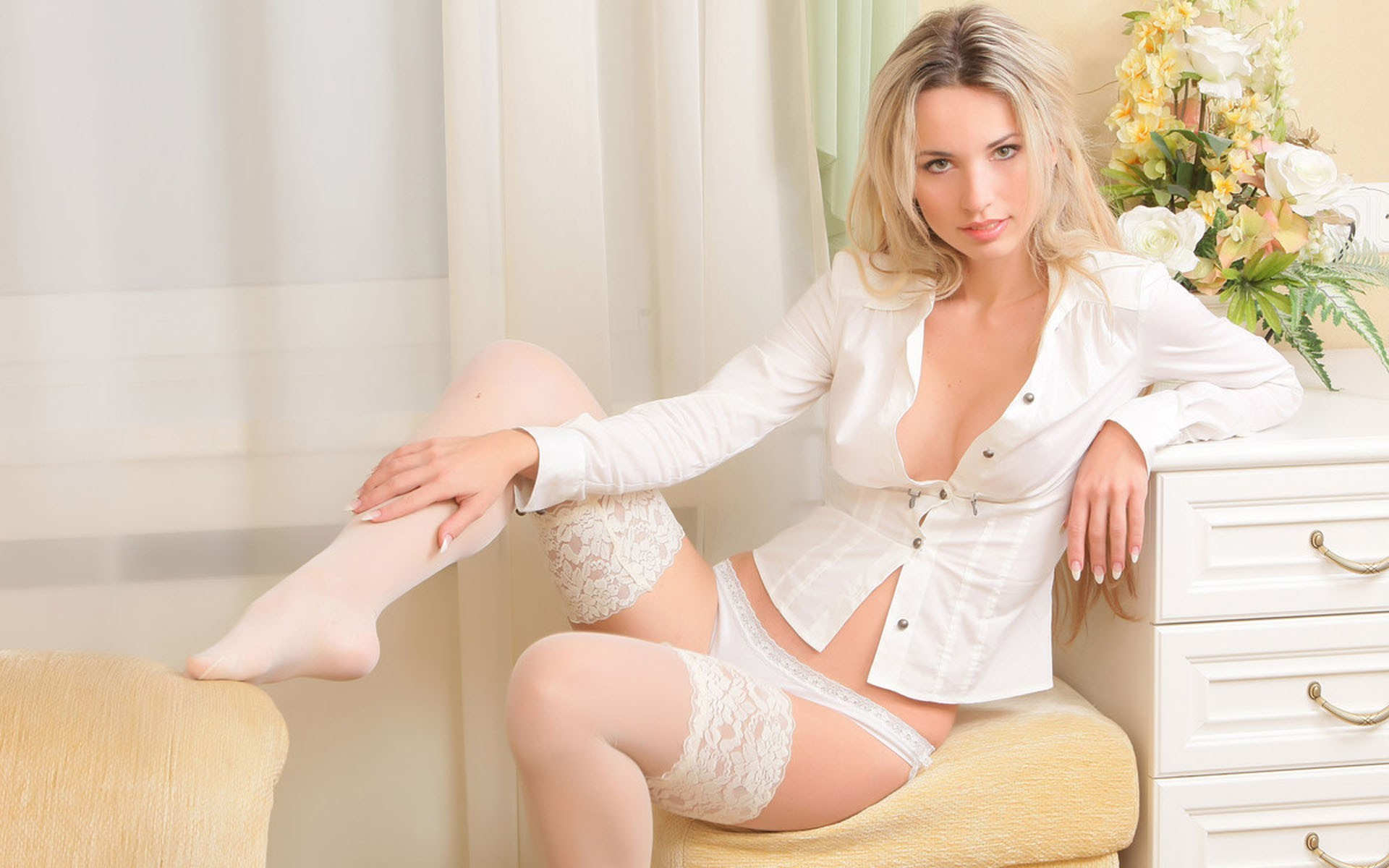 blondes woman panties white HD Wallpaper