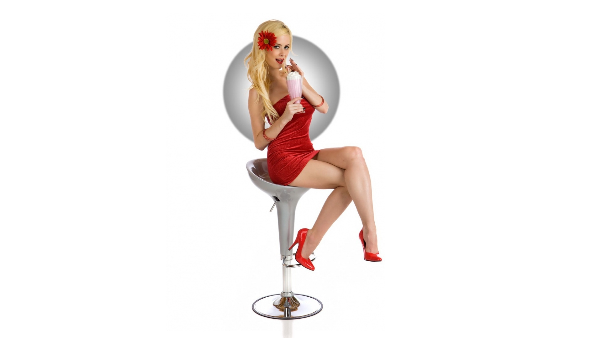 blondes woman pinups red HD Wallpaper