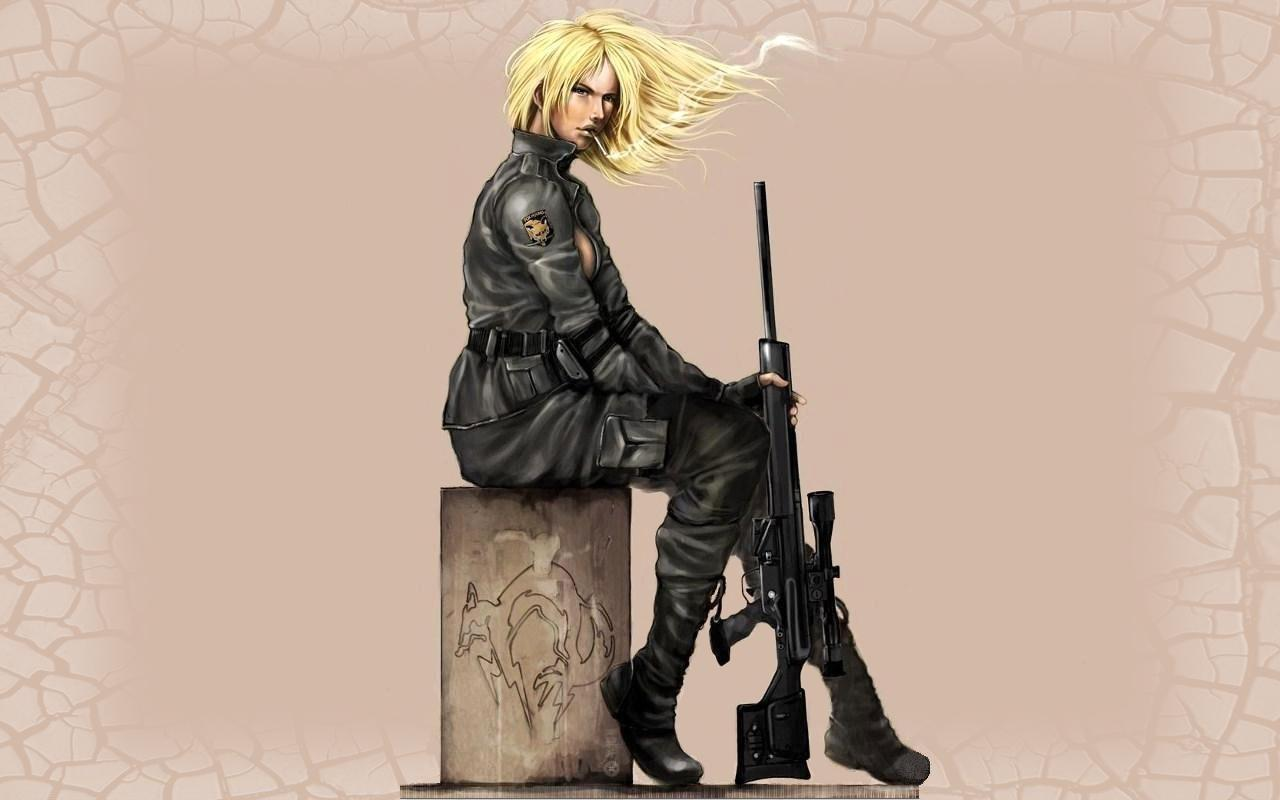 blondes woman smoking Rifles