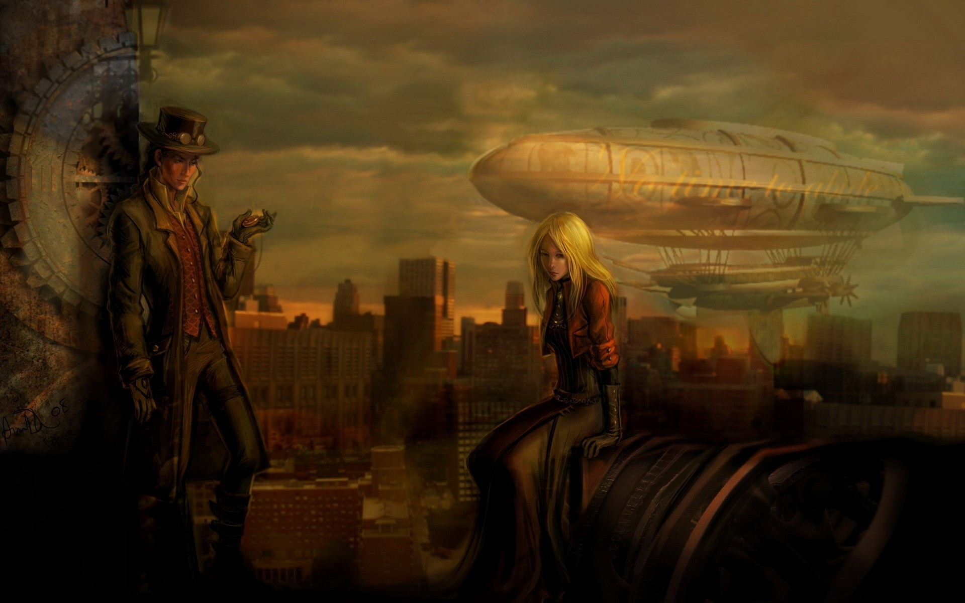 blondes woman steampunk artwork HD Wallpaper