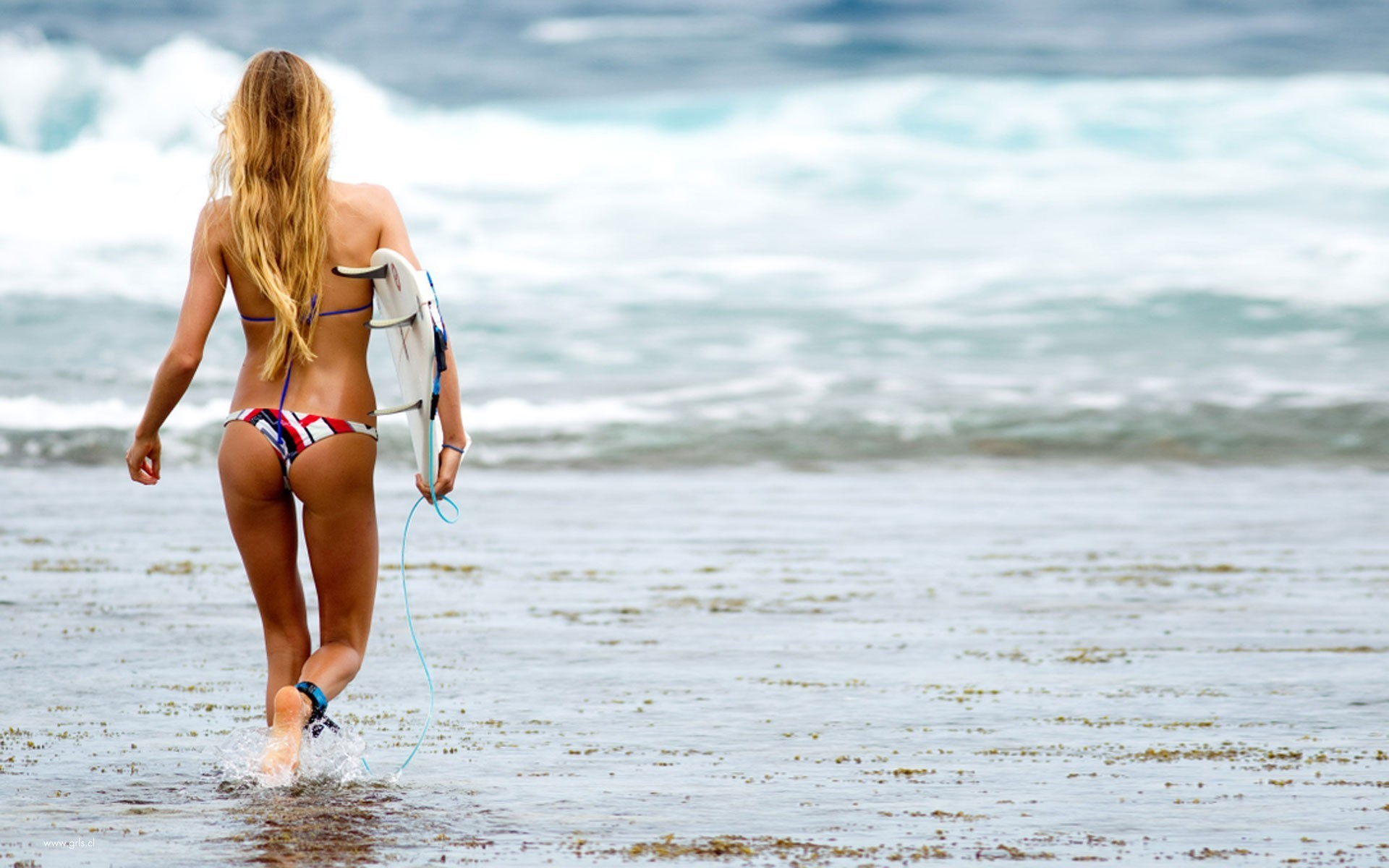 blondes woman water surfing HD Wallpaper