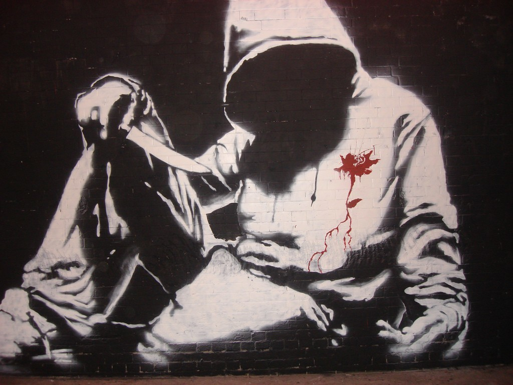 blood graffiti Knives HD Wallpaper