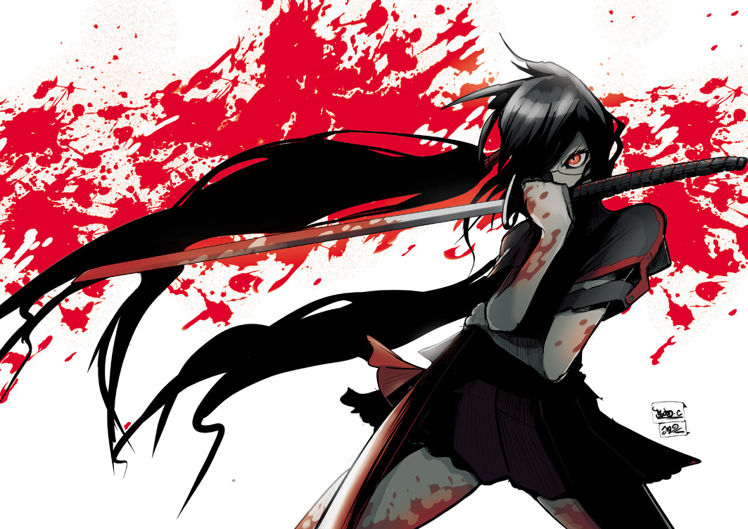 blood Kisaragi Saya Swords HD Wallpaper
