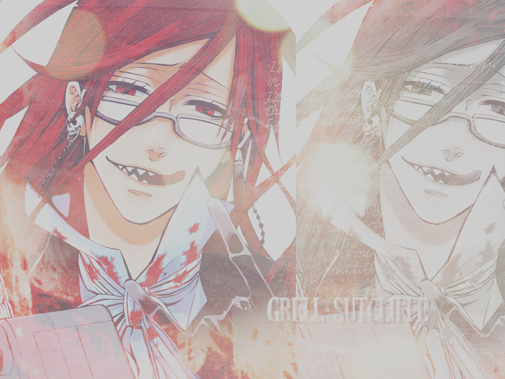 blood redheads glasses kuroshitsuji HD Wallpaper
