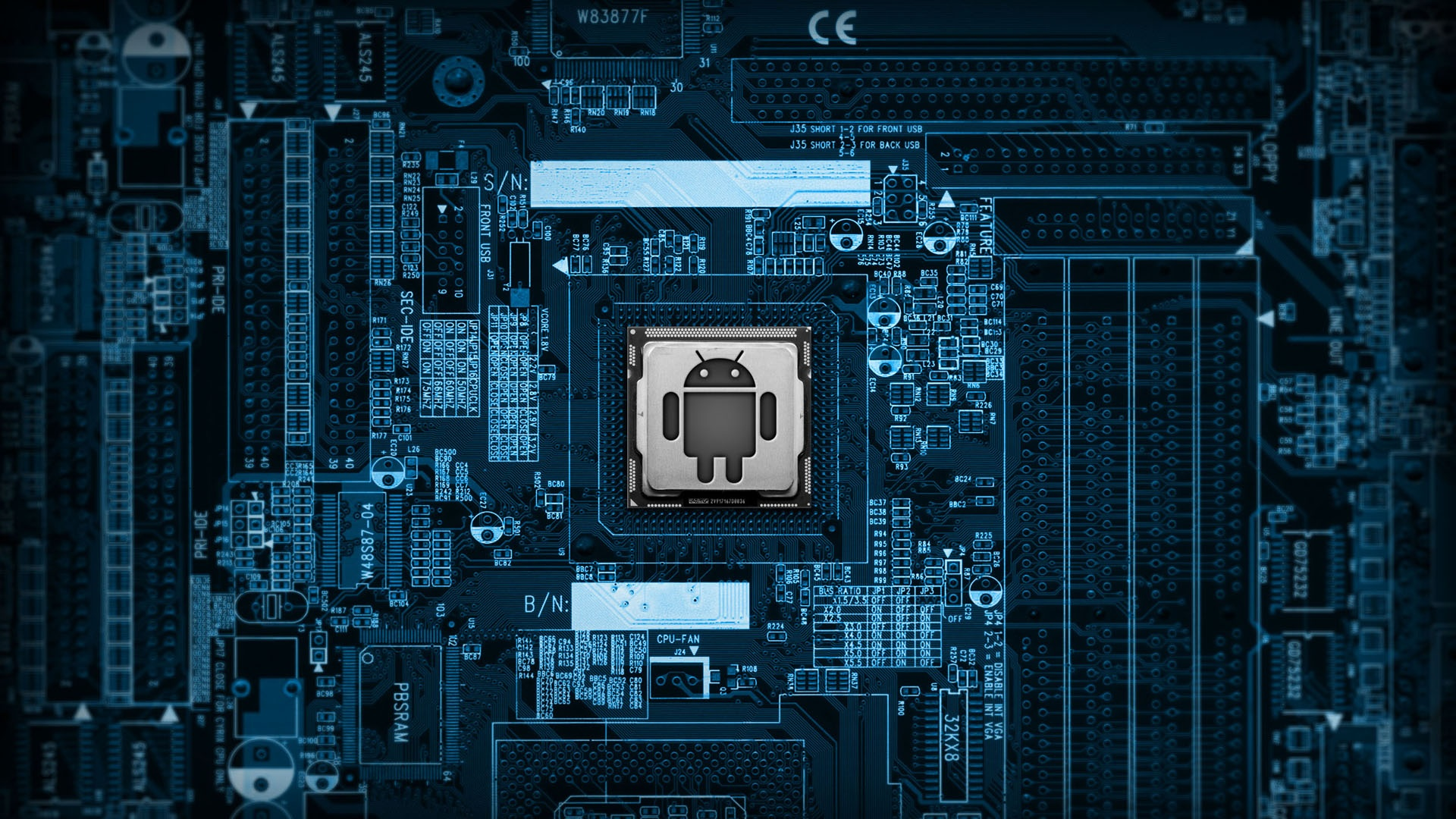 blue android circuit boards HD Wallpaper