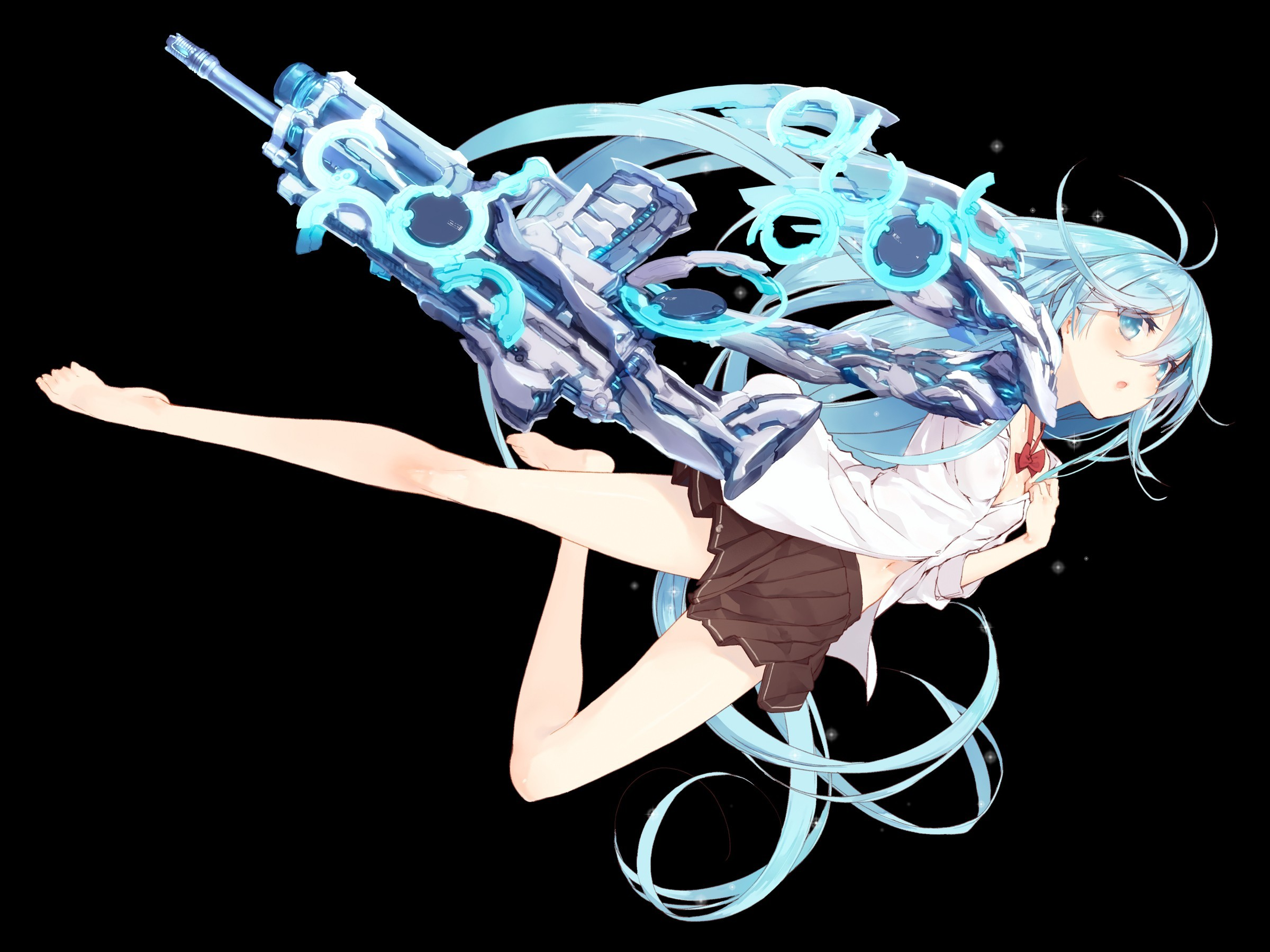 blue eyes skirts weapons HD Wallpaper