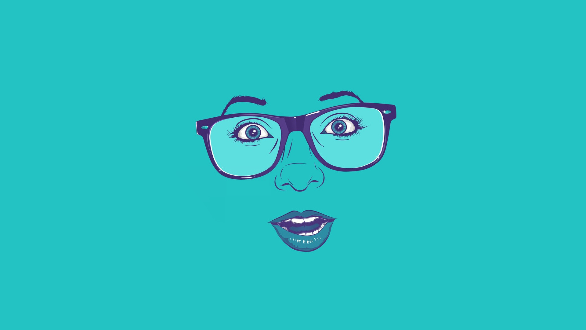 blue lips glasses faces HD Wallpaper