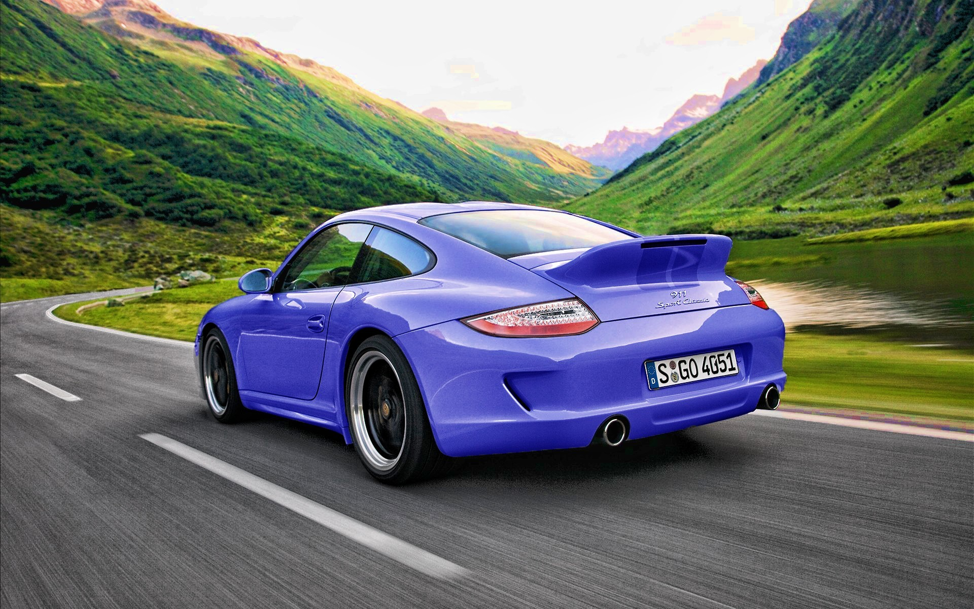 blue Porsche cars carrera HD Wallpaper