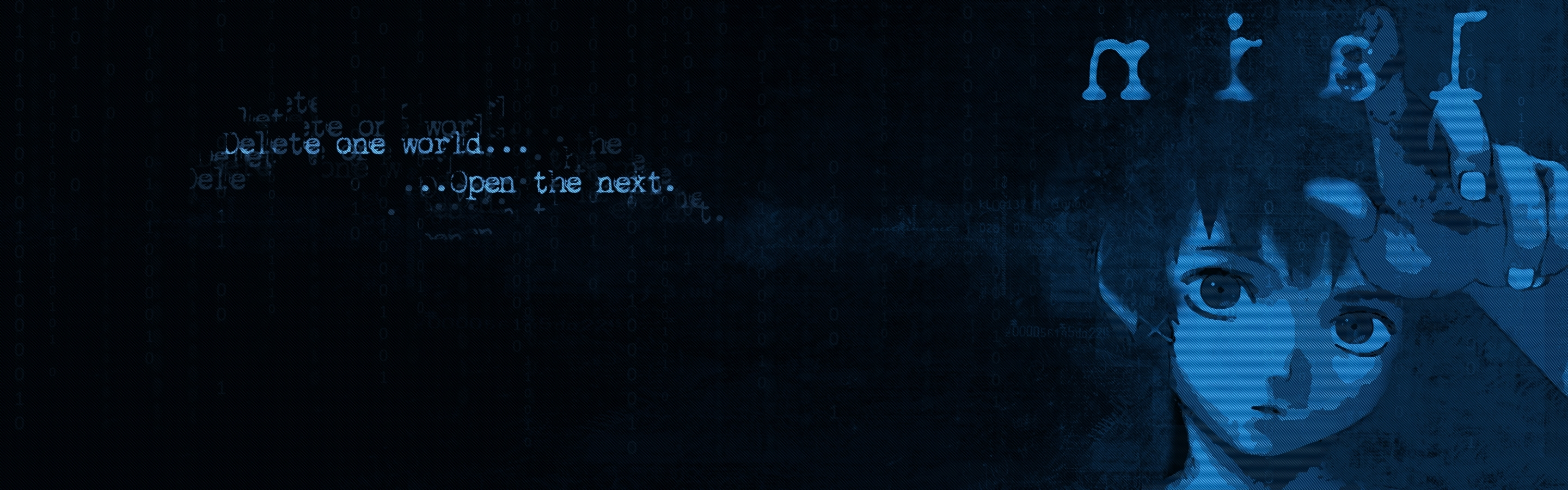 blue text serial experiments HD Wallpaper