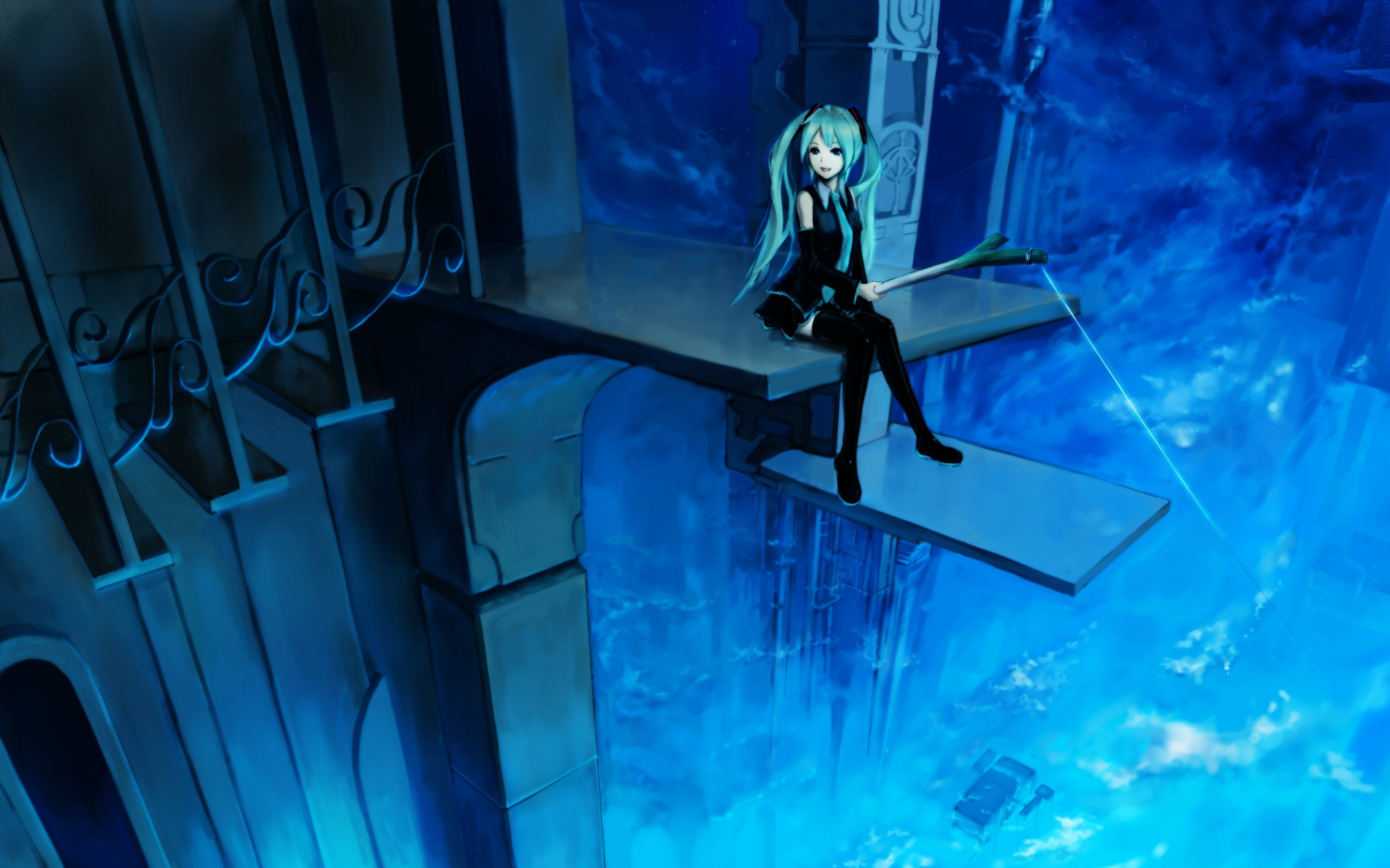 blue vocaloid night hatsune HD Wallpaper