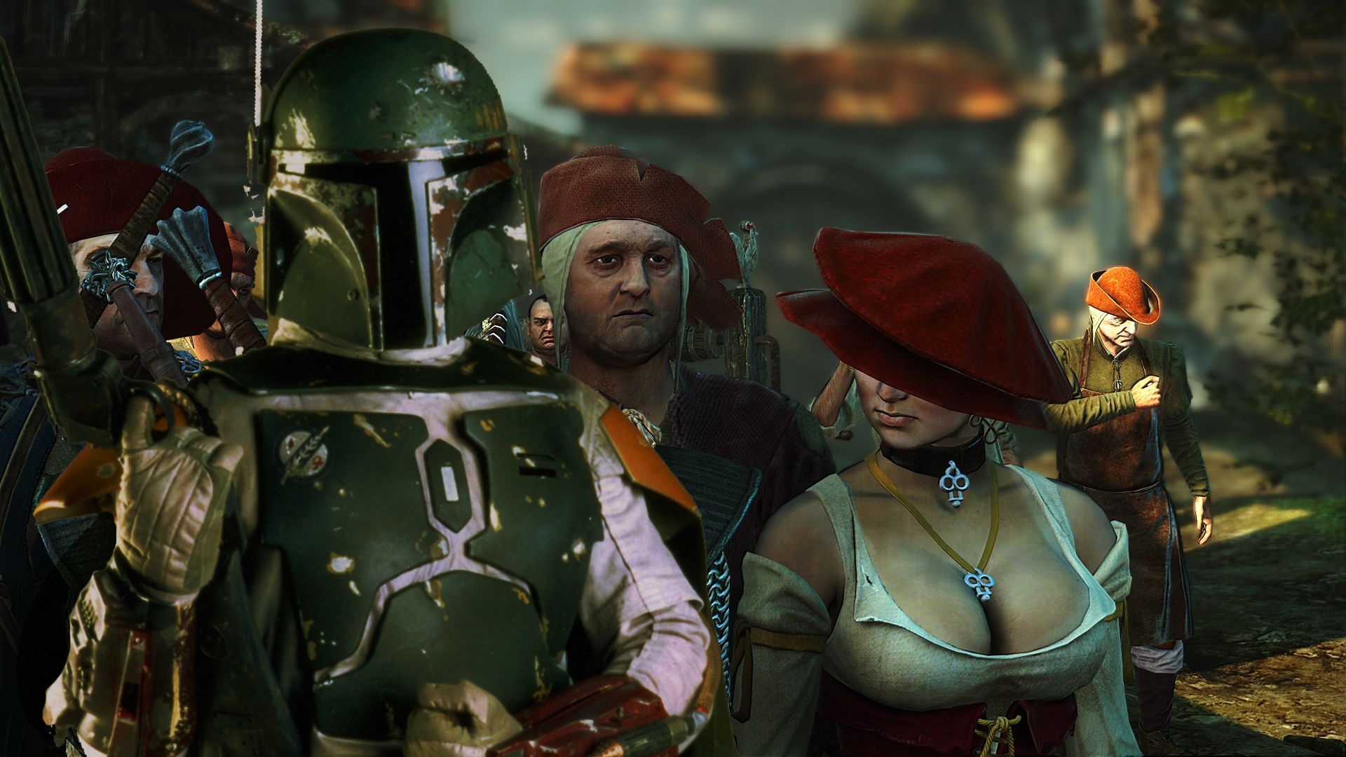 boba fett the witcher HD Wallpaper