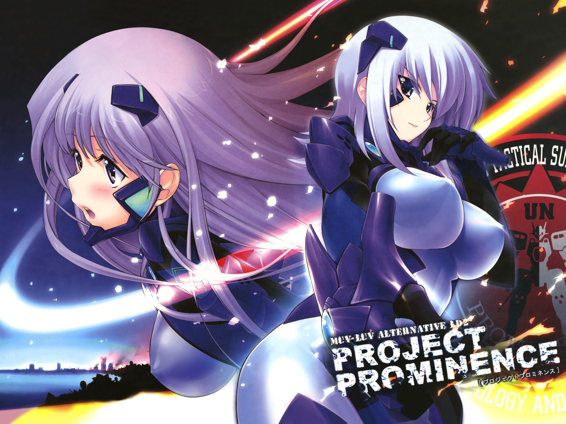 bodysuits white hair muv-luv HD Wallpaper