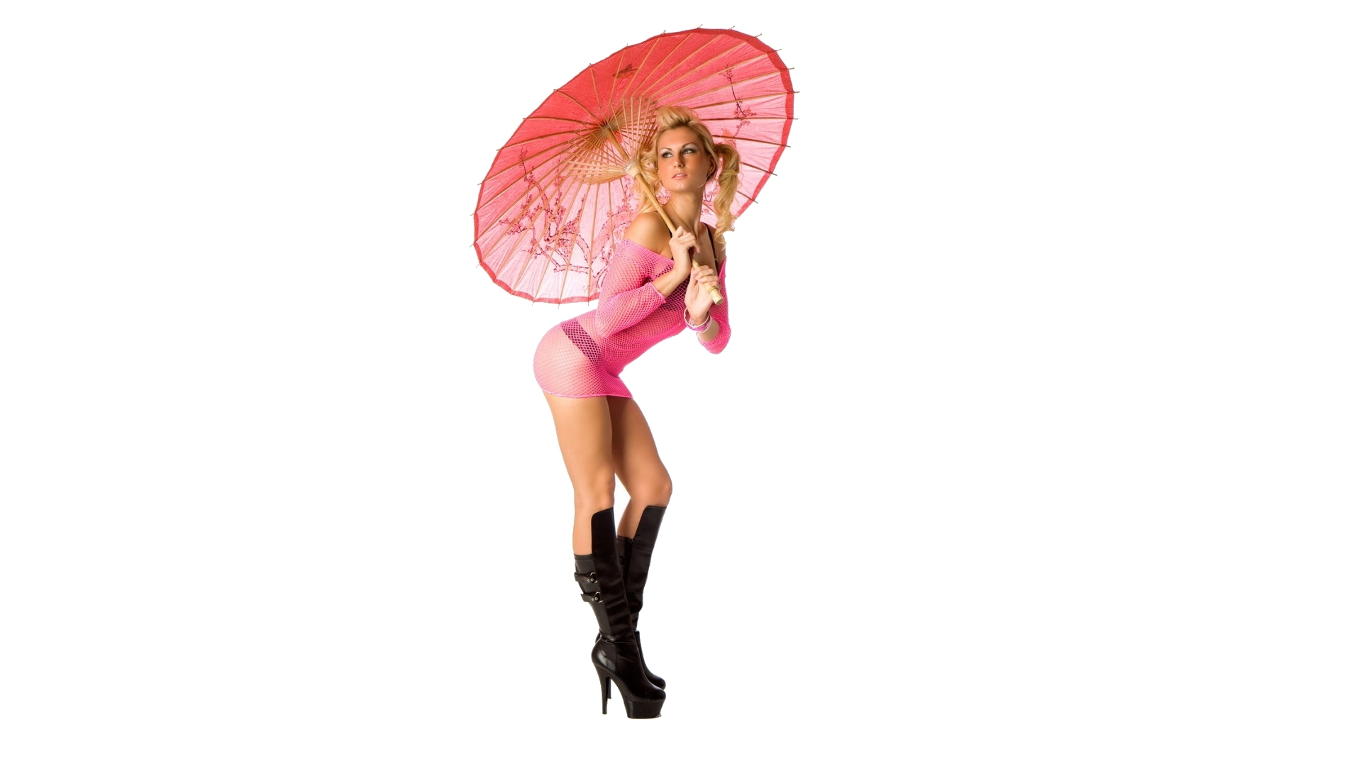 boots pink pinups Umbrellas HD Wallpaper