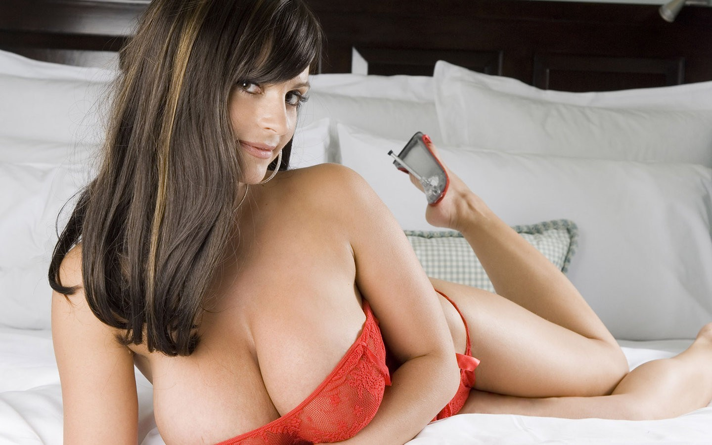 bra denise milani huge boobs red bra HD Wallpaper