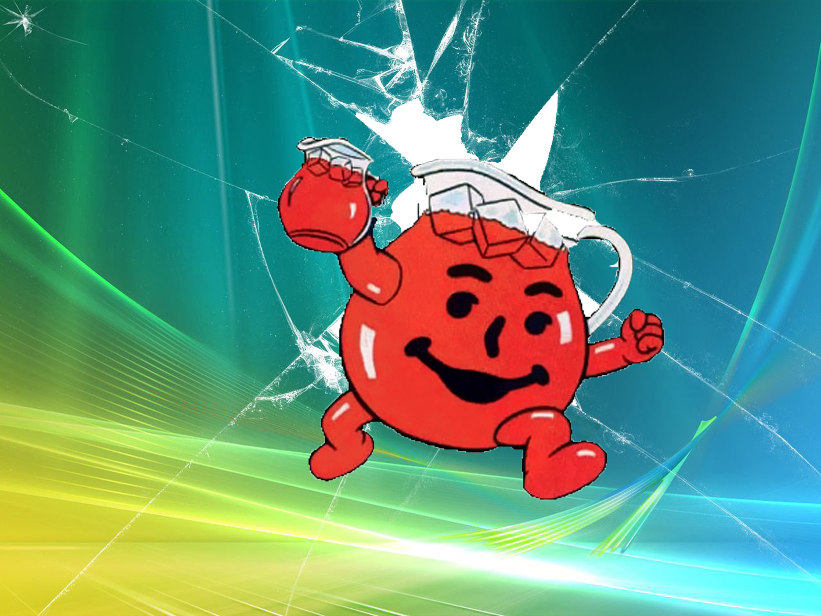 broken screen kool-aid beverages HD Wallpaper