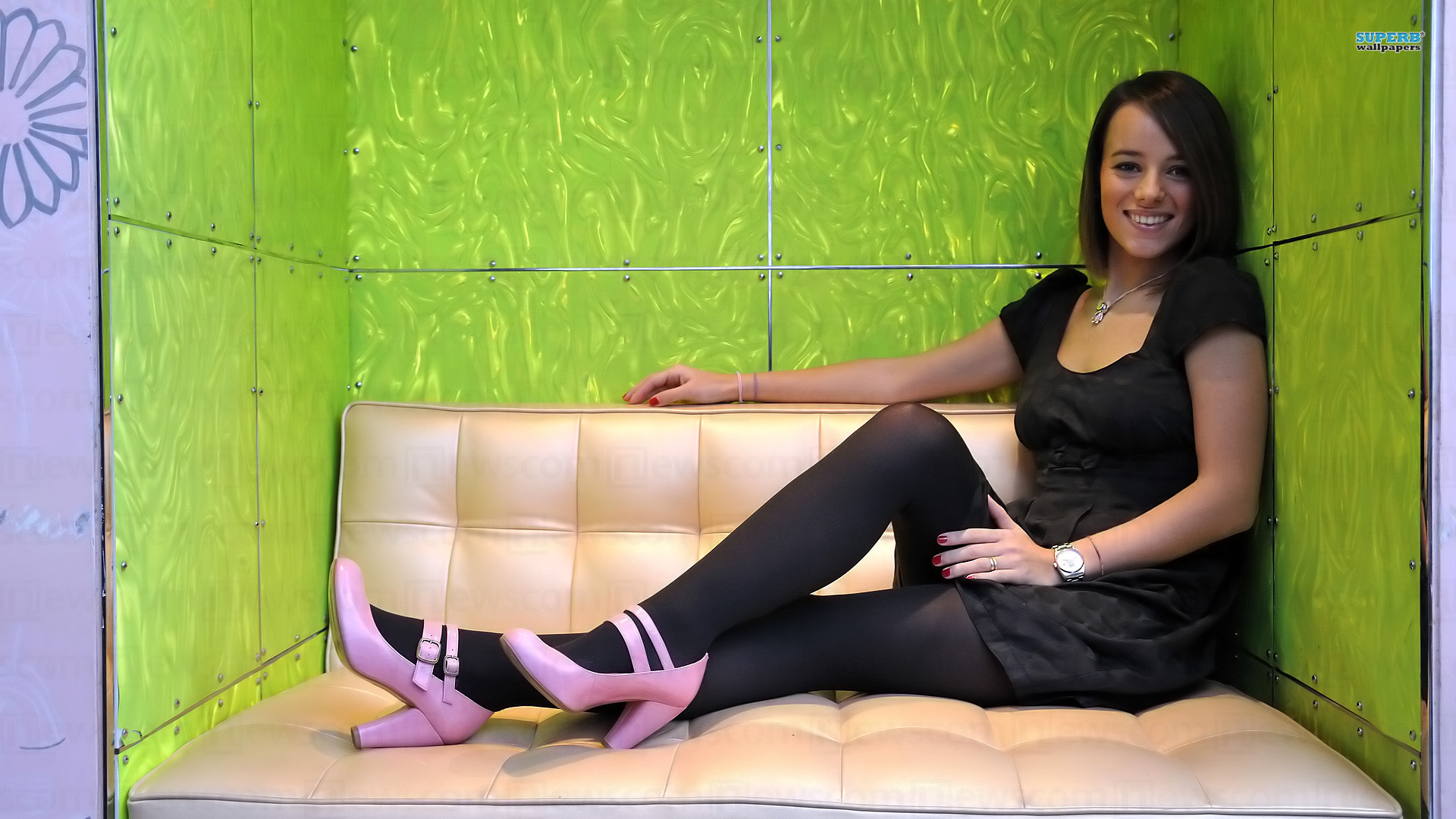 brunettes Alizée pantyhose high HD Wallpaper