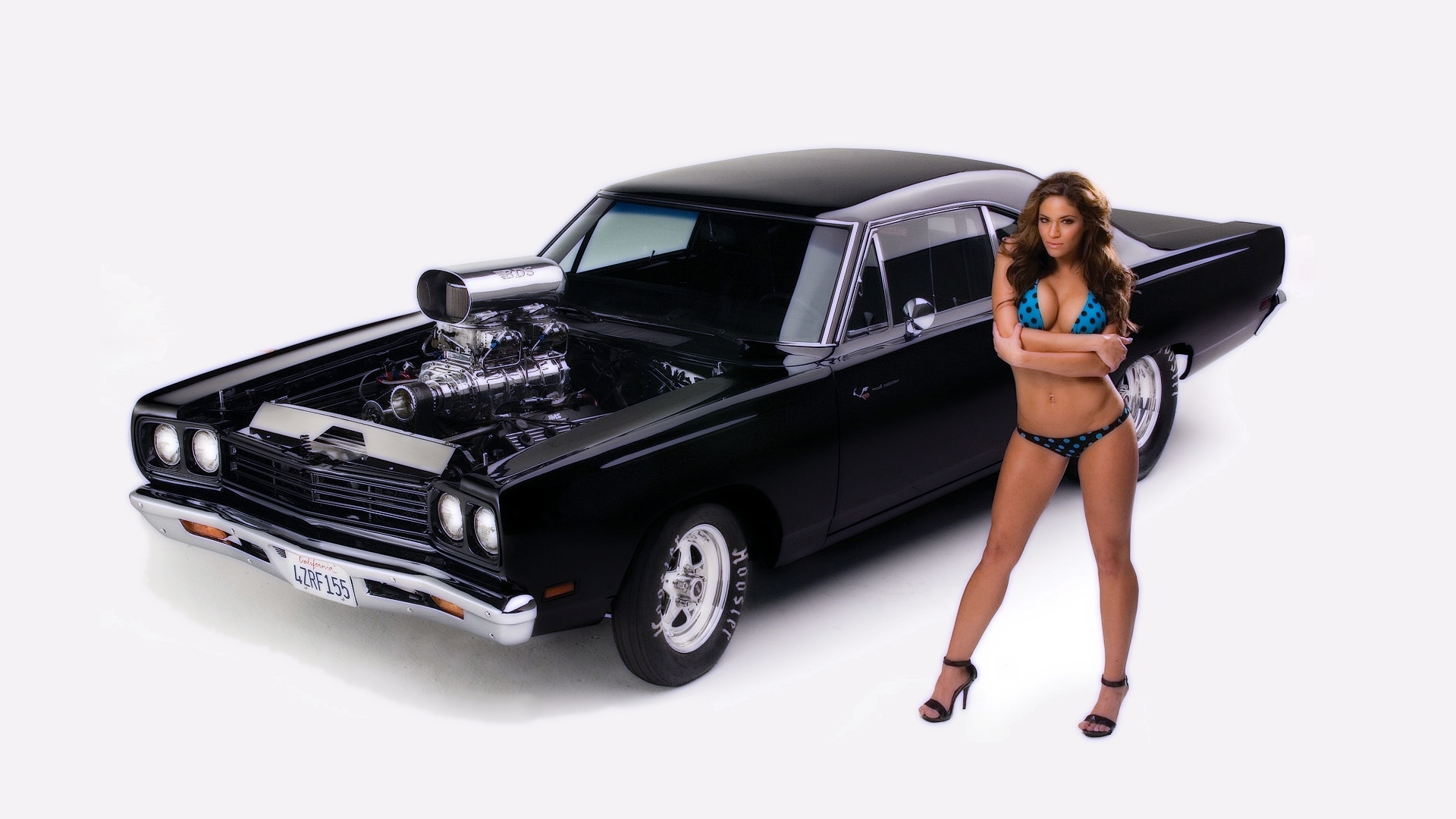 brunettes bikini black cars HD Wallpaper