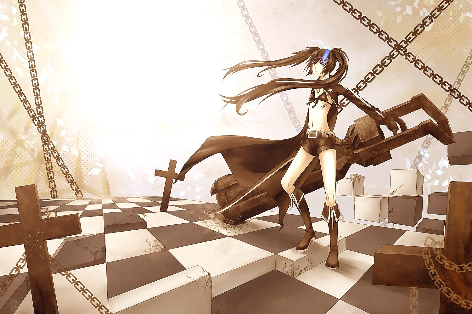 brunettes black rock shooter HD Wallpaper