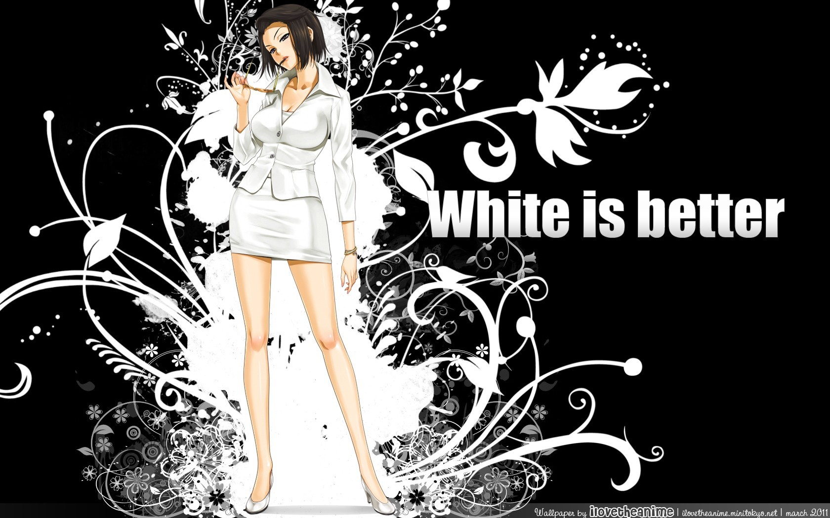 brunettes black white Flowers HD Wallpaper