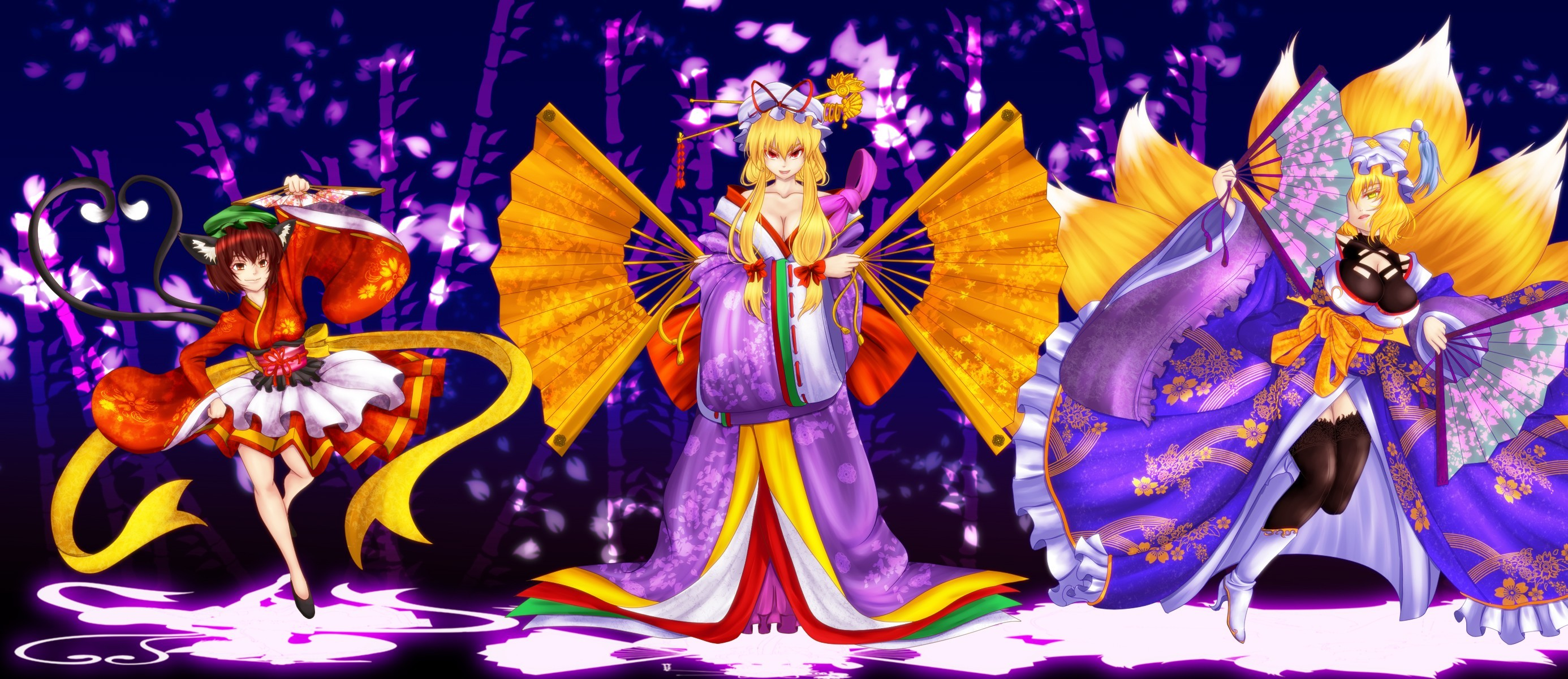 brunettes blondes tails touhou HD Wallpaper