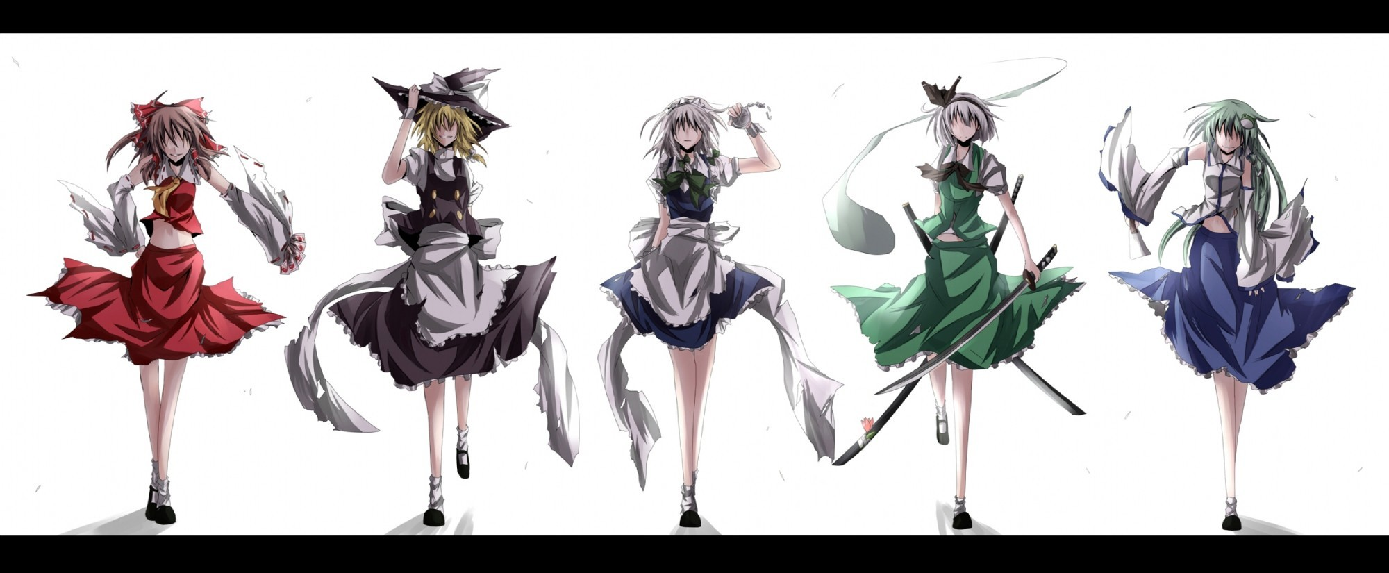 brunettes blondes touhou maids HD Wallpaper