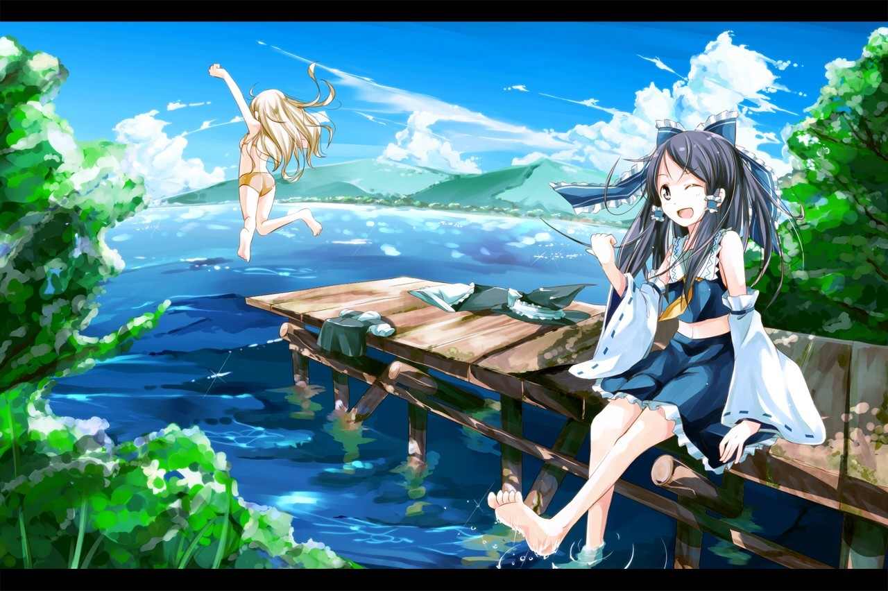 brunettes blondes water touhou HD Wallpaper