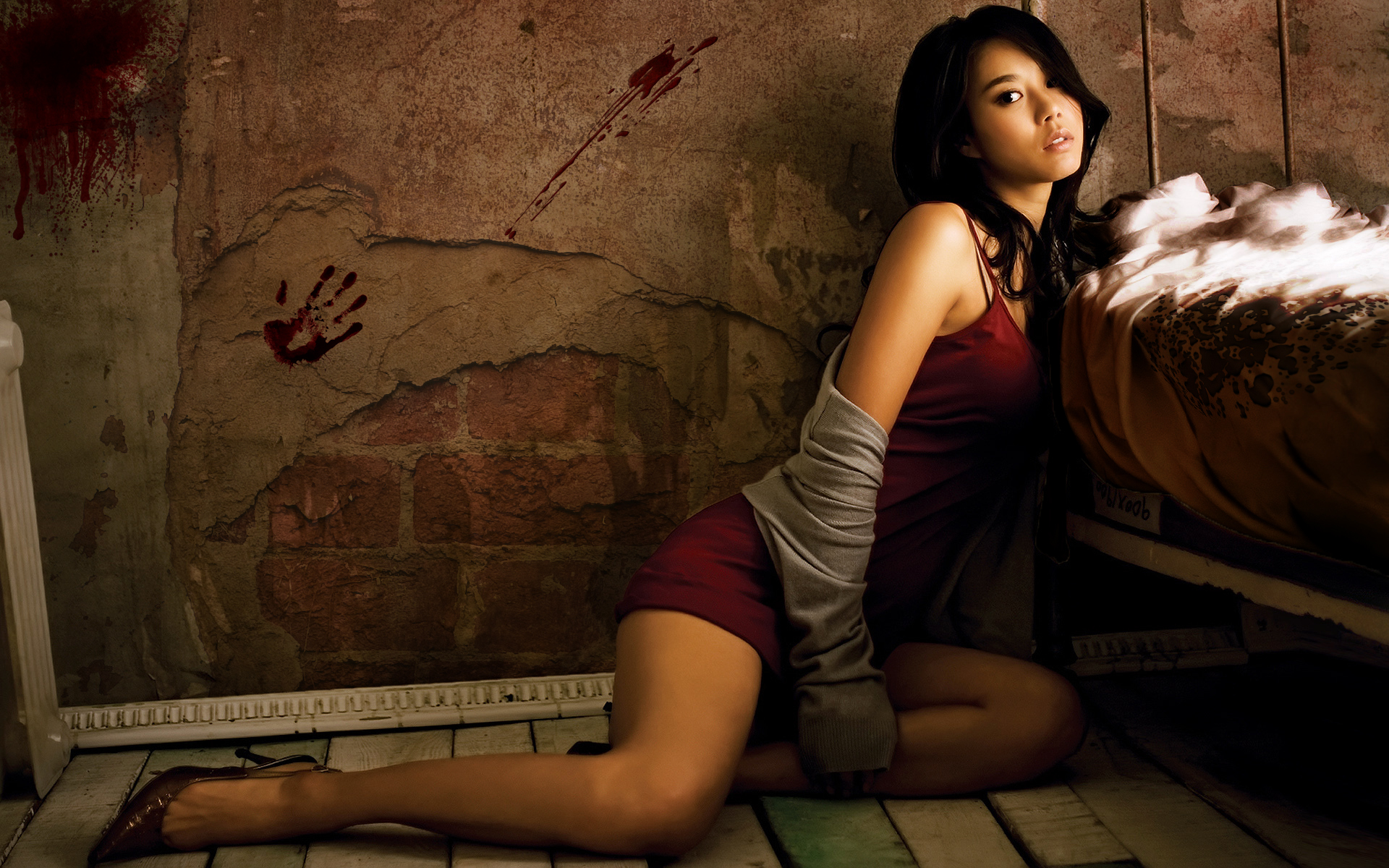 brunettes blood high heels HD Wallpaper