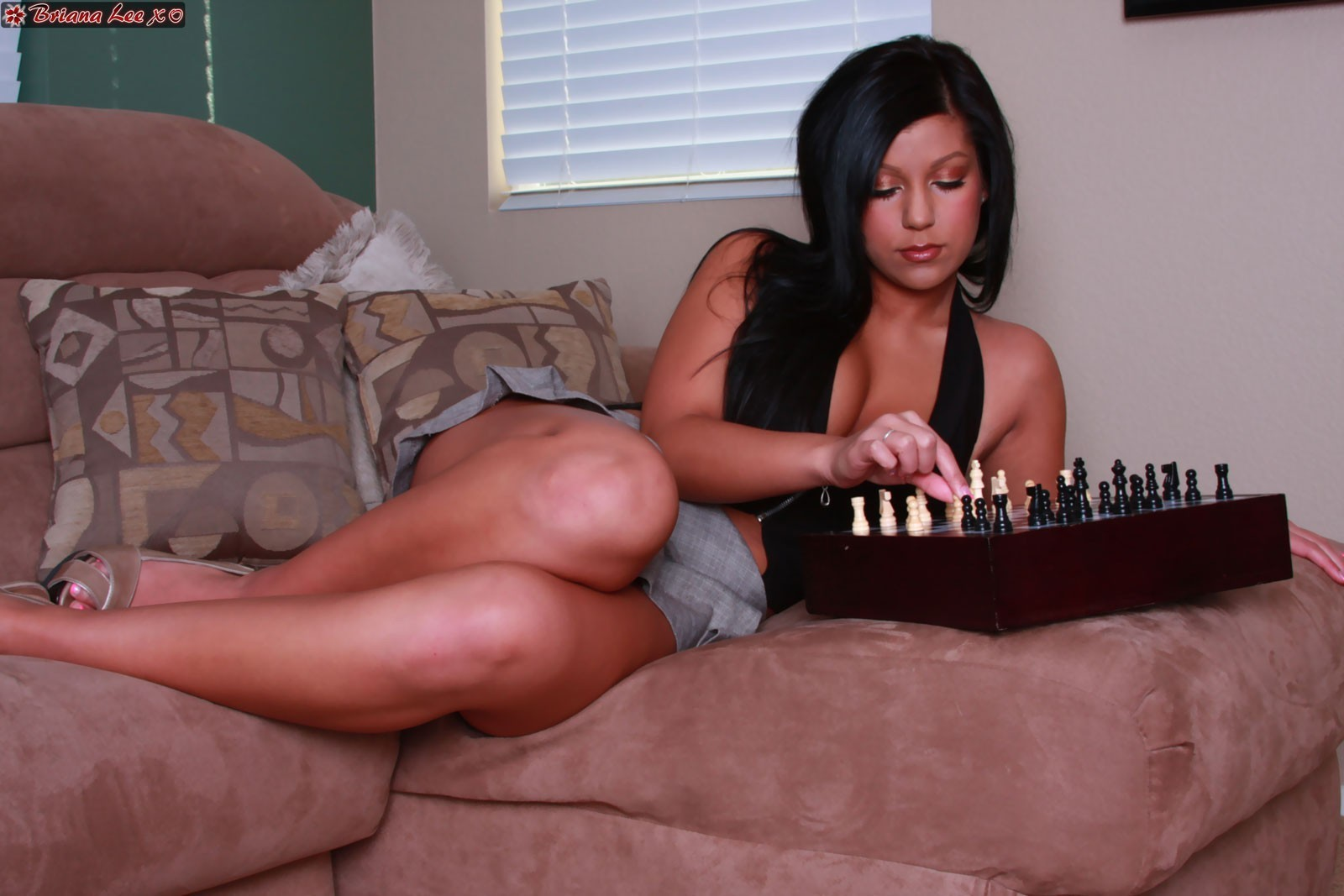 brunettes boobs woman chess